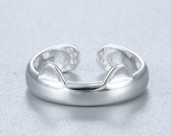 925 Sterling Silver Plated Animal Rings Jewelry Beautiful Unique Cat Ear Ring