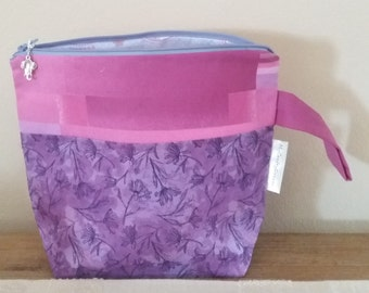 """Knitting or Crochet Project Bag """"Purple Flowers"""", small size, socks size-Tote Bag knit or crochet """"Purple Flowers"""", small"""