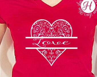 Filigree Heart svg  split letter Love svg   SVG Cut file  Cricut explore file   s Valentines