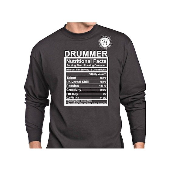 Drummer Nutritional Facts Svg Dfx Eps Png Cricut Cameo With Etsy
