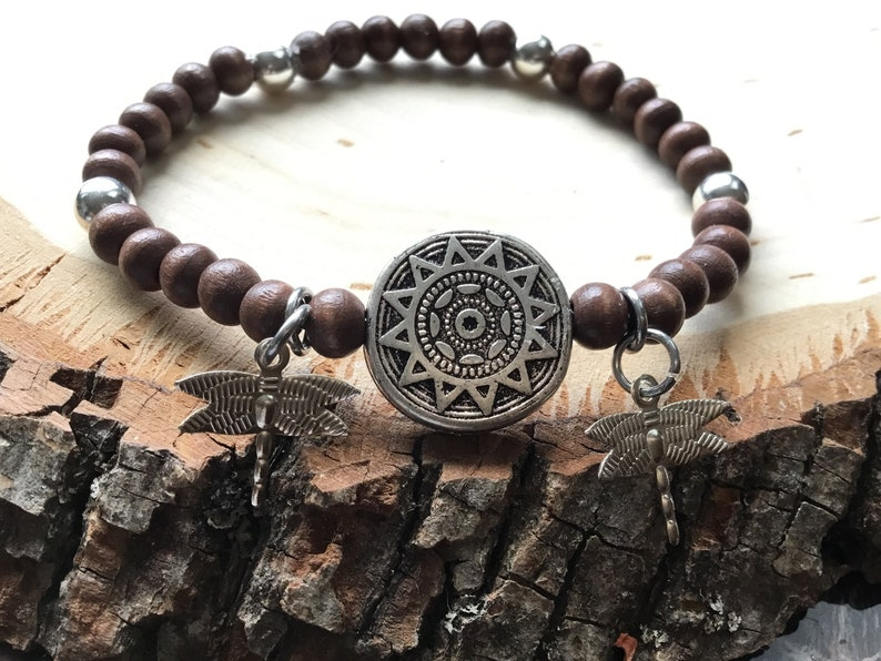 f2c1e2a16b22f Wood Bead Stretch Bracelet - 18 mm Tibetan Silver Round Metal Astrological  Chart Focal Connector, Nickel Free Metal Dragonflies - 7""