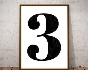 Printable Number 3, Number three Poster, Black and White Number, Typography Print, Wall Print, Minimalist Print