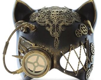 Attitude Studio Steampunk Cat Ears Eye Mask Robot Monocles Costume - Gold
