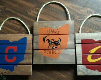Cleveland Sports Signs, Wall Art, Reclaimed Wood set of 3
