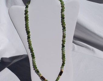 Shades of Green Beading with Soap Stone Pendant