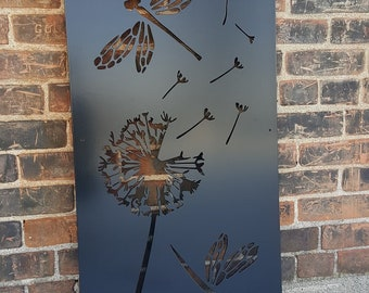 Metal Privacy Screen Decorative Panel Outdoor Garden Fence Art - Dragonfly Dandelion