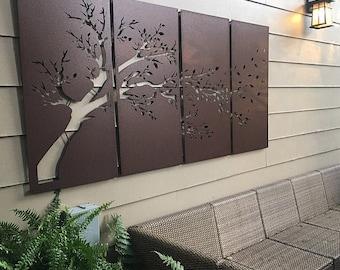 Metal Privacy Screen Decorative Panel Outdoor Garden Fence Art - Set of 4 Windy Tree