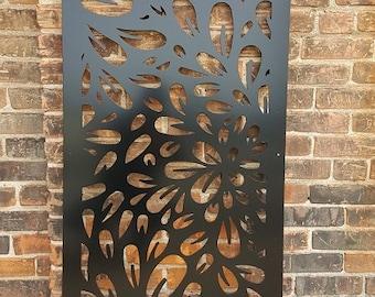 Metal Privacy Screen Decorative Panel Outdoor Garden Fence Art - Flowerburst2