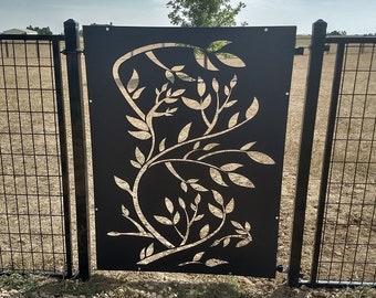 Metal Privacy Screen Decorative Panel Outdoor Garden Fence Art - Branch1