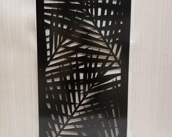 Metal  Decorative Panel Outdoor Garden Privacy Screen Yard Art - Palm Leaf 2