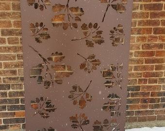 Metal Privacy Screen Decorative Panel Outdoor Garden Fence Art - Oak Leaf1