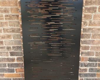 Privacy Screen Metal Garden Fence Topper Decor Art - Lines1