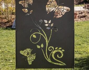 Metal Privacy Screen Decorative Panel Outdoor Garden Fence Art - Butterfly/Vine