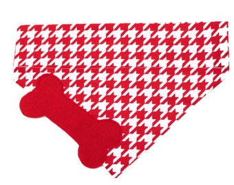 Classic Red Houndstooth Dog Bandana
