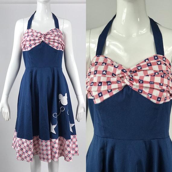Vintage 50s rockabilly style navy blue halter top