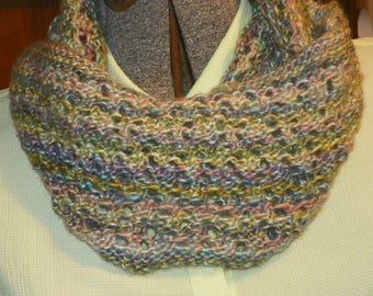 Colorful hand knit lace cowl