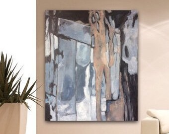 Abstrakte Kunst Große Original Wand Kunst Leinwand Grau Blau Weiß  Beige Rosa Wohnzimmer Abstrakte Kunst Textur Malerei Acryl Kunstwerk
