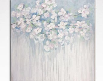 Large Abstract Painting on Canvas Original Wall Art Abstract Flower Painting Floral Art  Large Living Room Painting white blue rose gray