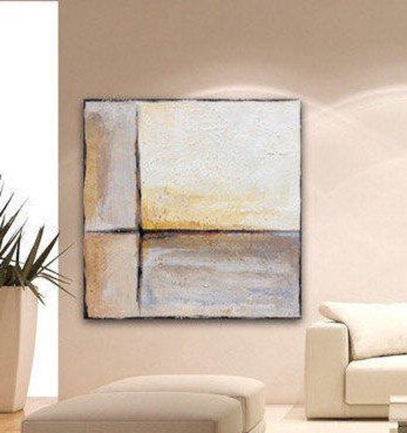 Extra Ocre Beige Grand Abstrait Peinture Grande Toile Art Etsy