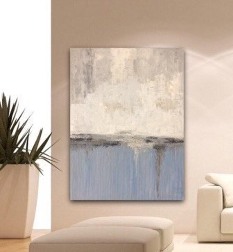 Abstrait Peinture 47 Bleu Gris Gris Crème Grand Mur Art Paysage Peinture Par Sonja Alfreider