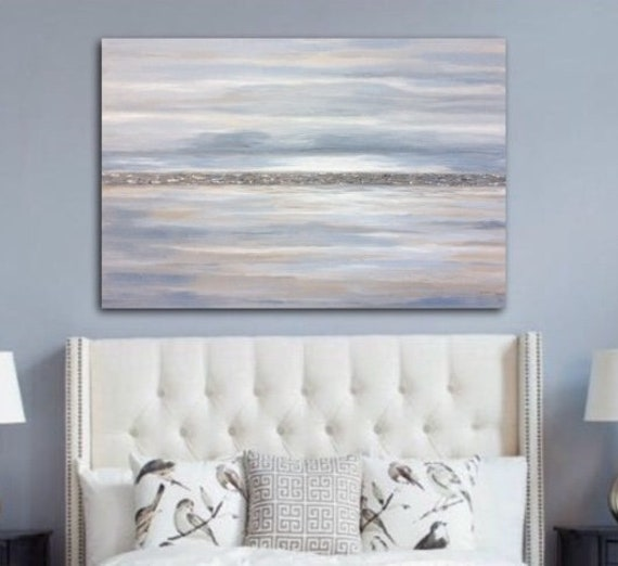 Large Abstract Landscape Painting Beige Gray White Wall Art Large Original Abstract Seascape Wall Art By Sonja Alfreider