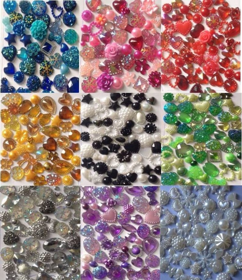 60 x Mixed Flat backs Hearts Resin Pearls Bow Flower Embellishments Cabochon