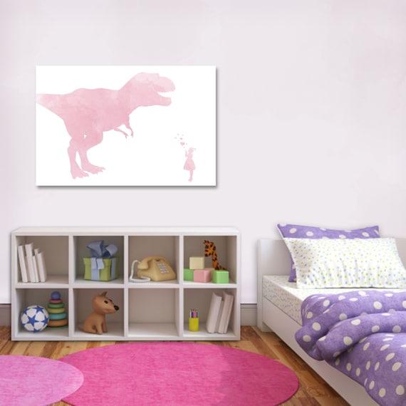 Girl Dinosaur Art - Dinosaur Nursery - Girls Bedroom Art - Girls Bedroom  Decor - Girls Dinosaur Decor - Dinosaur Decor Girl - Baby Shower