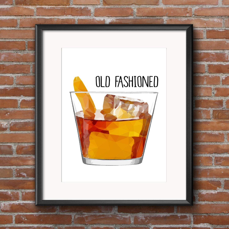 Cocktail Sign Old Fashioned Bar Decor Kitchen Decor