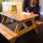 Kids' Cedar Picnic Table / Craft Bench for kids up to 7 years old