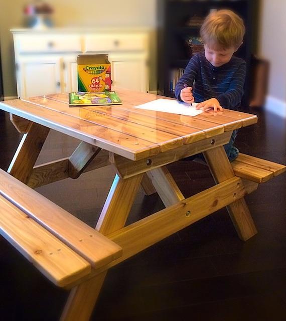 Enjoyable Kids Cedar Picnic Table Craft Bench For Kids Up To 7 Years Old Creativecarmelina Interior Chair Design Creativecarmelinacom