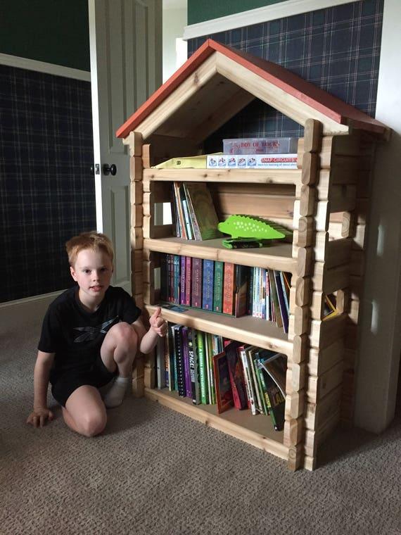 Log Cabin Bookshelf Kids Childs Bookcase