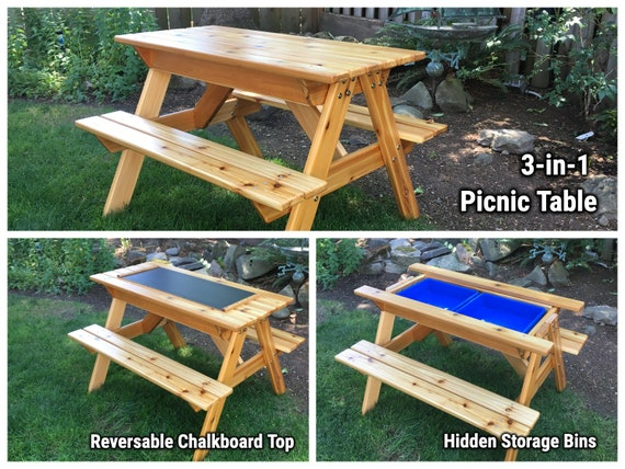 3-In-1 Convertible Kids Picnic Table with Sand & Water/Storage Bins and Blackboard - Pre-school/Toddler