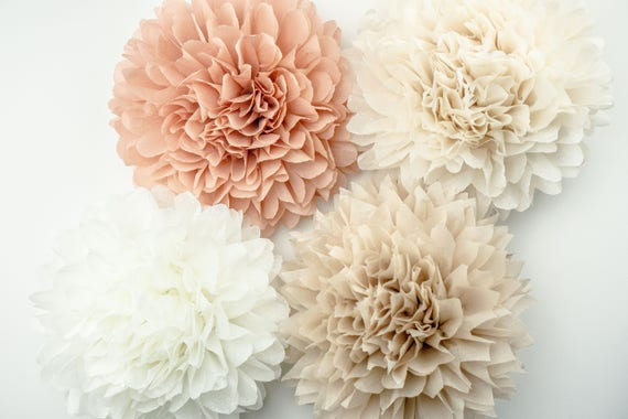 Neutral theme poms paper flower flower balls wedding etsy image 0 mightylinksfo