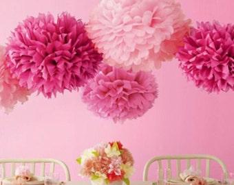 3 pompones 14'', decoración, fiesta, papel, bolas de flores, boda, evento