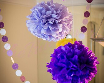 """flor de papel, pompones 15 (14"""" -8"""") mixto, parte decoración de papel de seda, decoración de la boda, decoraciones, papel de fumar"""