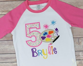 e32723668 Paint Party Girls Shirt, art birthday shirt, painting birthday shirt, art  birthday, paint palette shirt, artist birthday shirt, Paint party