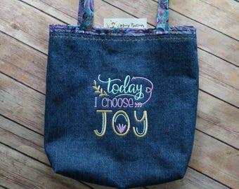 Today I Choose Joy tote bag, Book Bag, Mom Bag, Quote Bag, Happy Bag, Personalized Tote, Denim Bag, Blue Denim Bag, Shopping bag, book tote