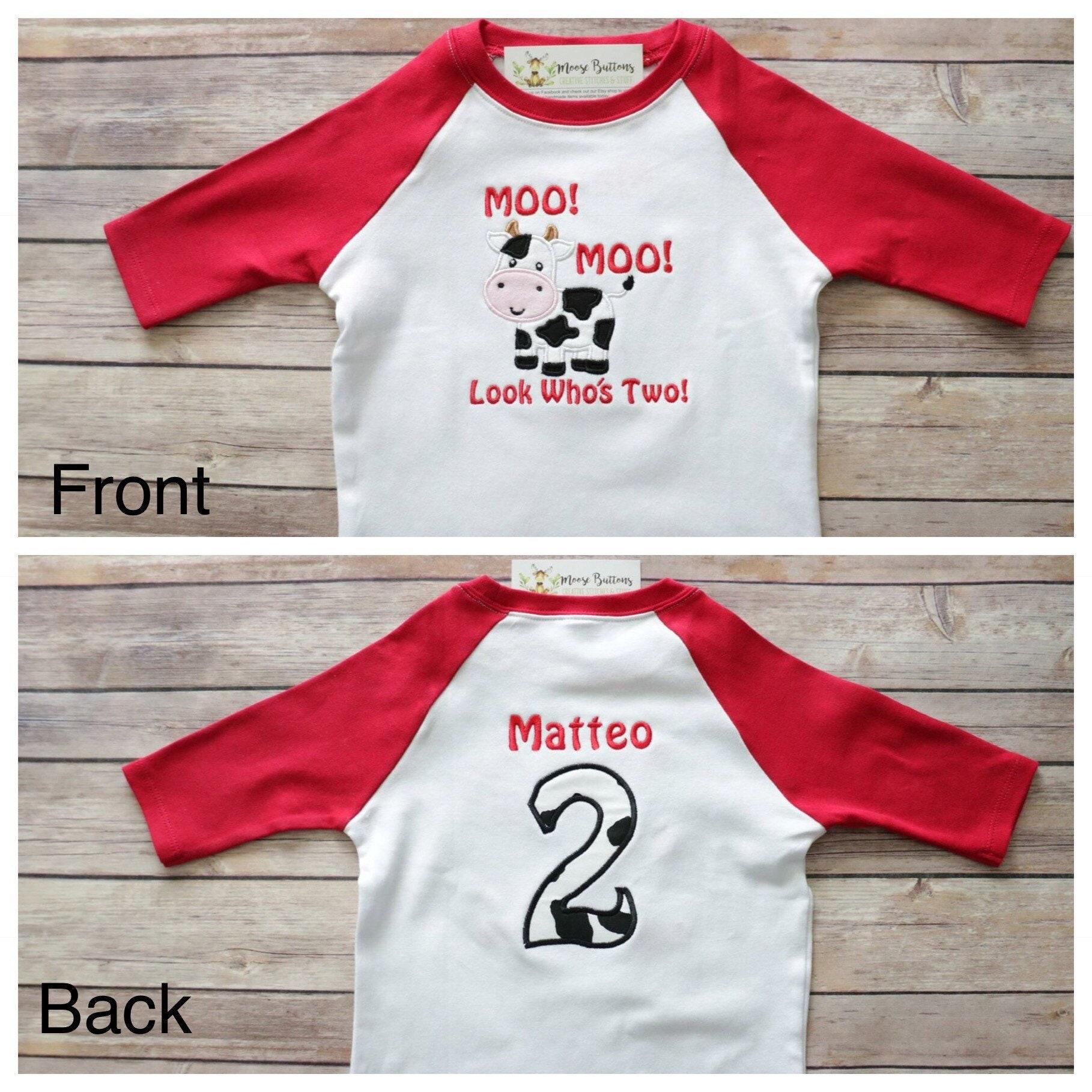 Moo Moo Look Whos Two Shirt Boys Birthday Shirt Boys Farm Birthday Shirt Cow Birthday Shirt Barn Shirt Cow Birthday 2nd Birthday