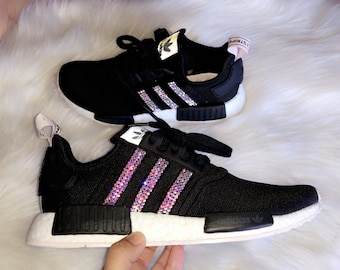 4ce83724e06a Women s Black Adidas NMD R1 with AB Swarovski Crystals
