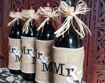 Mr. and Mrs. burlap wine wraps