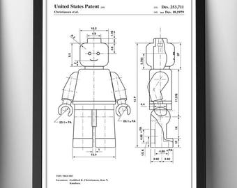Lego patent print|Wall art|Poster|Gift|Present|Toy|Minifigure|Personalised