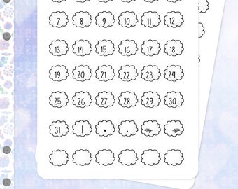 numbered clouds .planner stickers