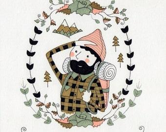 Lumberjack Boy Small Art Print