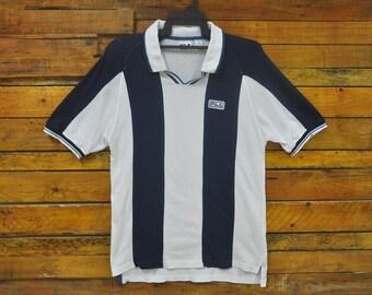 d497530638258 Rare Vintage 90s FILA Fishnet Collar Shirt,Size M,Fila Striped Shirt,Sportsman,Hip  Hop,Skater,Rap