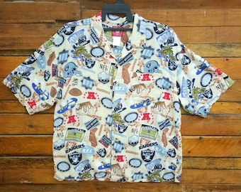 62ab44fea Rare Vintage Oakland Riders All Overprint Hawaiian Shirt