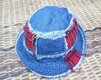 e8c5bf6859d Vintage Al Falfhar Patch Work Distressed Bucket Hat