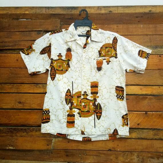 Vintage 60s Tropicana Barkcloth Hawaii Shirt, Fit