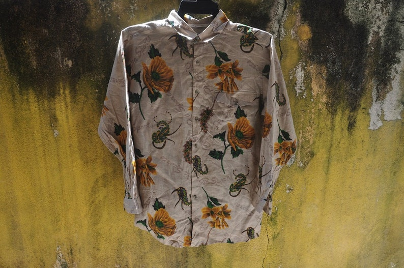 RARE Vintage PIA SPORT Button Down Long Sleeve,Pia Sport Floral Shirt,Pia  Sport Linen Oxford Shirt