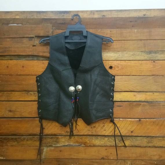Rare Vintage Leather Vest, Fit M, Leather Vest Jac
