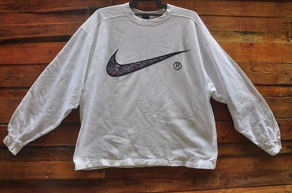 1d4cc0b0924 RARE Vintage NIKE Embroidered Big Logo SweatshirtSize | Etsy